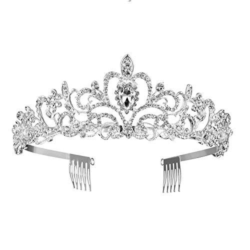 Crystal Tiara Crown For Women - Encci Gorgeous Pretty Crystal Tiara Crown Headband Princess Elegant Crown with Combs for Women Bridal Wedding Prom Birthday Party