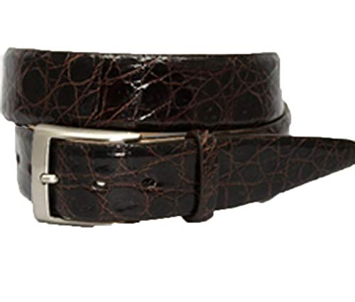 Torino Leather Glazed South American Caiman Belt - Brown 34