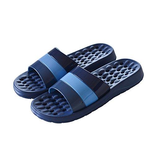 Cubierta antideslizante zapatillas de baño a rayas,La luz azul / 40 39 41 / 42 azul oscuro