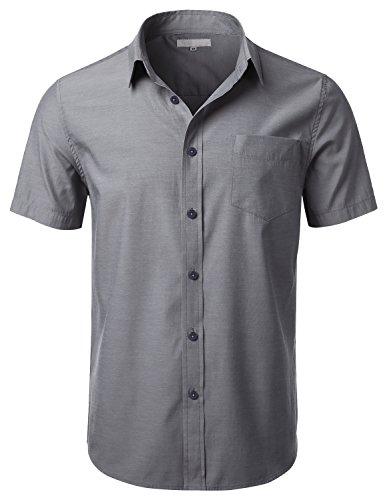 URBANCREWS Mens Hipster Hip Hop Short Sleeve Chambray Shirts NAVYGRAY XLARGE