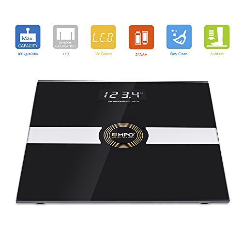 EMPO® Bathroom Scale - High Accuracy Digital Body Weight Scale - LIFETIME WARRANTY - Extra-large, high contrast LightOnDark digital display - Slim and Elegant Design - Measures weight accurately and consistently – Smart StepAndRead Technology - Gift Wrap Available - Black