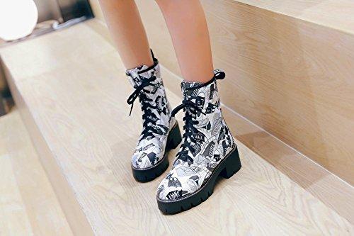 Latasa Femmes Lacets Mi-talon Bottes Courtes Noir + Blanc