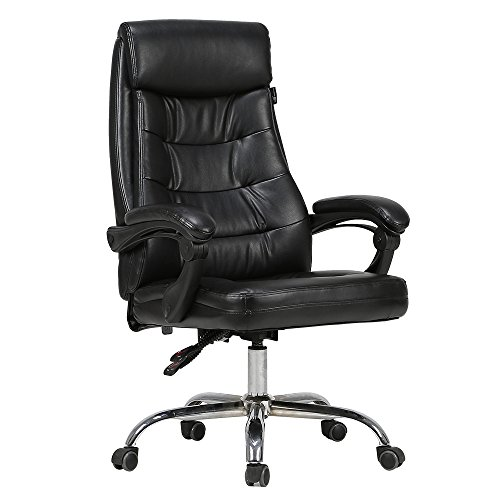 Updated Big-Sized Hbada Ergonomic Recliner High Back Office Chair PU Leather Executive Swivel Height Adjustable Chair-Black
