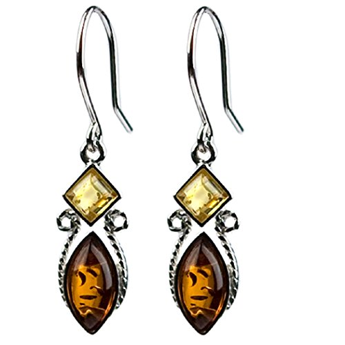 - Multicolor Amber Sterling Silver Square Marquise Small Tiny Earrings