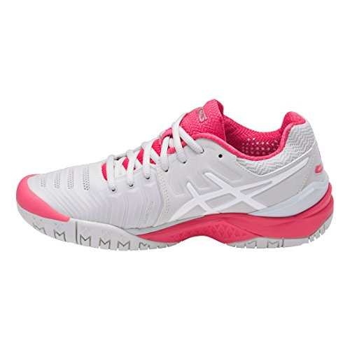 Asics Resolution rouge Zapatillas vif clair Tenis 7 de gris Gel Mujer blanc para UUaW4qrn