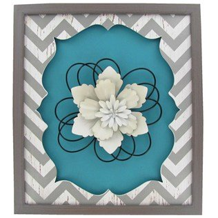 turquoise-white-gray-chevron-wall-plaque-with-a-layered-metal-flower-width-12-3-4-height-14-1-2