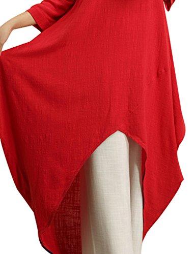 Youlee Mujer V Cuello Algodón Lino Irregular Dobladillo Vestir Fit EU 40-46 Rojo