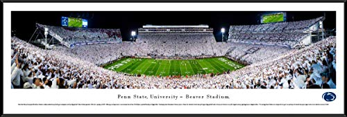 Standard Framed Panoramic Print - Penn State Football, White-Out - 40.25x13.75-inch Standard Framed Picture by Blakeway Panoramas