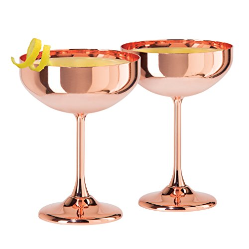 Stainless Martini Glasses (Oggi 7448.12 Cocktail Glasses Set of 2 Plated Coupe (10 Oz), Copper)