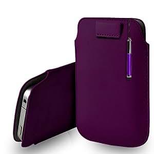 Samsung Galaxy Fame S6810 Dark Purple Leather Tire Tab caso de la cubierta de la bolsa + Retractable Stylus Pen Touch + paño de pulido