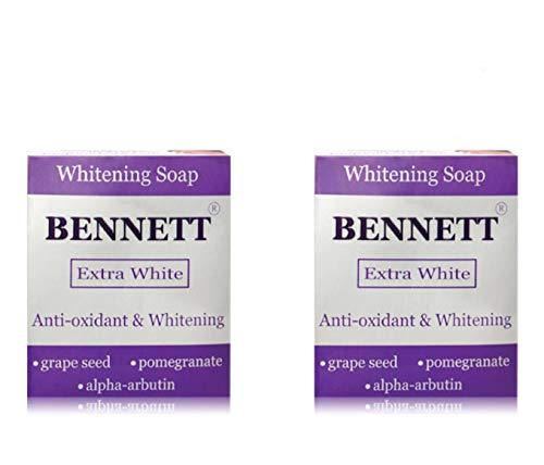 Antioxidant Rich Pomegranate Extract - X2 Boxes Bennett Extra White Whitening Soap Anti-oxidant Rich Grape Seed Extract, Pomegranate Extract and Alpha Arbutin 130 G