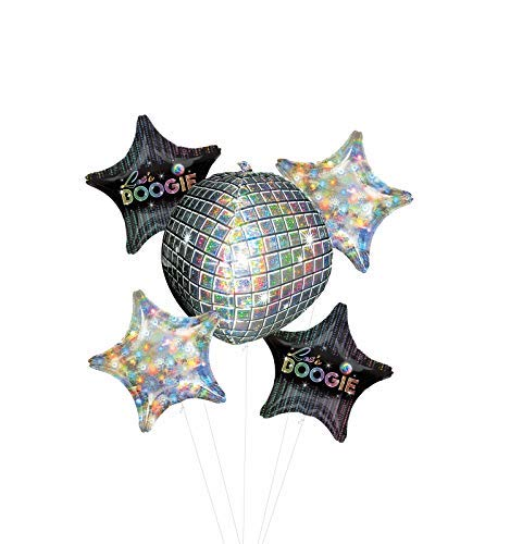 70's Disco Dance Party Supplies Let's Boogie Balloon Bouquet Decorations with Holographic Stars -
