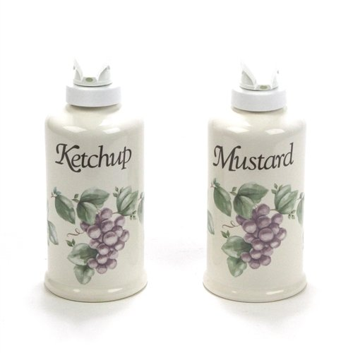 Grapevine by Pfaltzgraff, China Mustard & Ketchup Dispenser