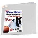 """Sticky Mat/Pad Replacement Sheets, Fits All Traction Board, Approximate Size 15"""" x 18"""", Transparent. Great for Grip and Traction, Volleyball, Wrestling by StepNGrip (Transparent, 60 Sheets)"""