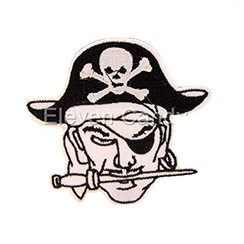 (Black Pirate Captain Punk Skull Embroidered Applique Sew Iron On Patch Kids Clothes DIY Accessories )
