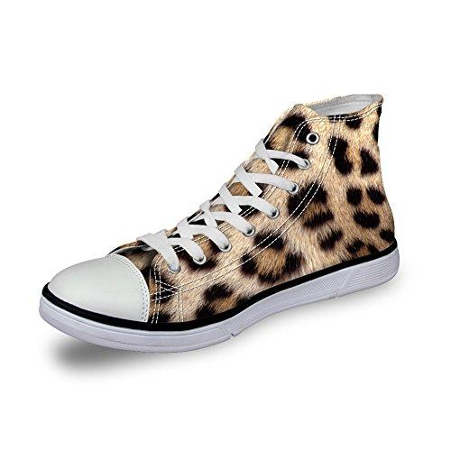 För U Designar Snygga Leopardmönster Kvinna Hög Topp Spets Duk Mode Sneaker Brun 1