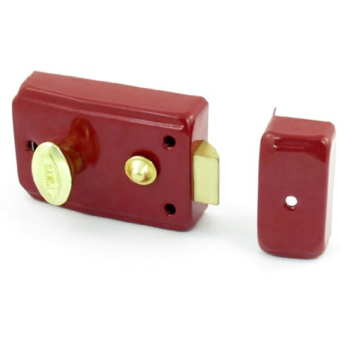 uxcell Red Metallic Household Drawer Gate Door Single Latchbolt Lock Keys Set