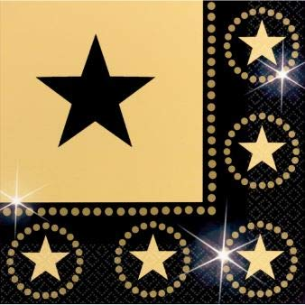 Hollywood Lunch Napkins - amscan Star Studded Hollywood Themed Party Lunch Napkins (16 Piece), Black/Gold, 6.5 x 6.5