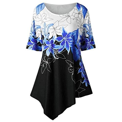 Shirt Tops Chemisiers Shirts Vetement Asymmetric Tunique Irregular Loisir T Large V Manches Blau Fleur Basic Courtes Femme Taille Imprim Vintage Mode Et Grande Cou RdxAZSq