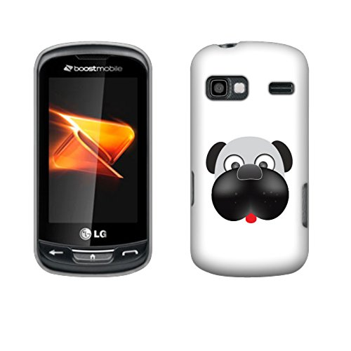 Fincibo (TM) LG Rumor Reflex LN272 Xpression C395 Protector Cover Case Snap On Hard Plastic - Cartoon Dog, Front And Back