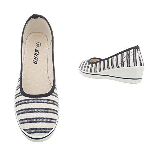 Zapatillas con Flats Ital Blue mujer para holgazán Design Heel White diseño Zy1705 rrCdwqxU