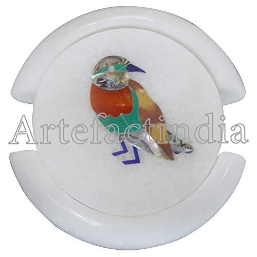 Artefactindia Coasters Cup Coaster Bird Marquetry Art Inlay Round White Marble Coaster Set 4