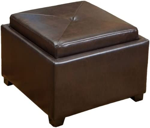 Christopher Knight Home Andrea Leather Tray Top Storage Ottoman