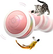 Interactive Cat Toy Ball, Yuede USB Rechargeable Cat Toys for Indoor Cats with Colorful Led Light & Multip
