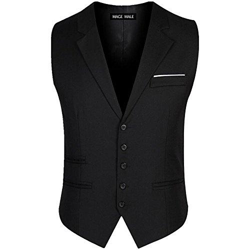 MAGE MALE Men's Plaid 3 Piece Suit Modern Slim Fit Two-Button Single Breasted Wedding Formal Party Blazer Vest Trouser Set, Black, Large