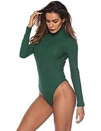 Womens Basic Solid Bodysuit Turtleneck Leotard Top Long Sleeve Bodycon Jumpsuit Stretchy Romper