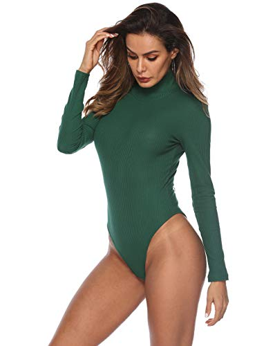 Queen.M Women's Basic Solid Bodysuit Turtleneck Leotard Top Long Sleeve Bodycon Jumpsuit Stretchy Romper (Dark Green, L)