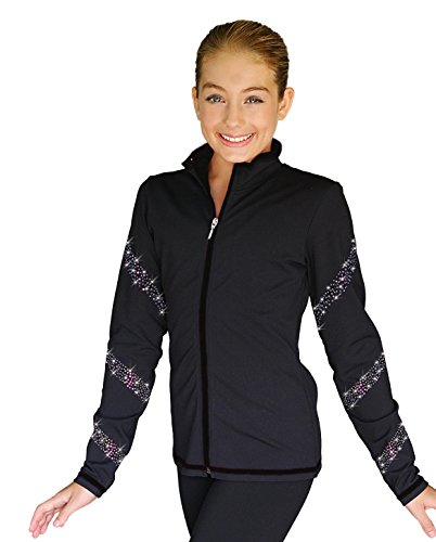 Chloe Noel JS96 Color Zipper Skate Jacket with Crystals Spiral (Black/AB Crystals, Child Small)