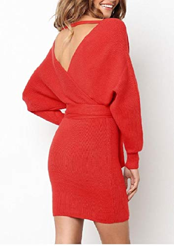 Red Pencil Women Sleeve Bodycon Coolred Belted Knot Long Cross Wrap Dresses pvZTtxwtq