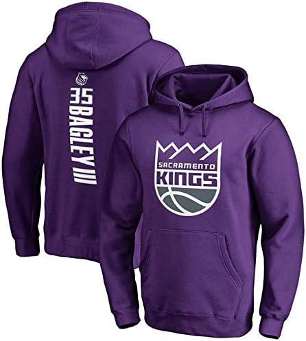 バスケットボールフーディーNBA#35マーヴィンバッグリーIIIサクラメントキングススポーツセータージャケットスウェットシャツトップスバスケットボール競技ジャージ (Color : Purple, Size : M)