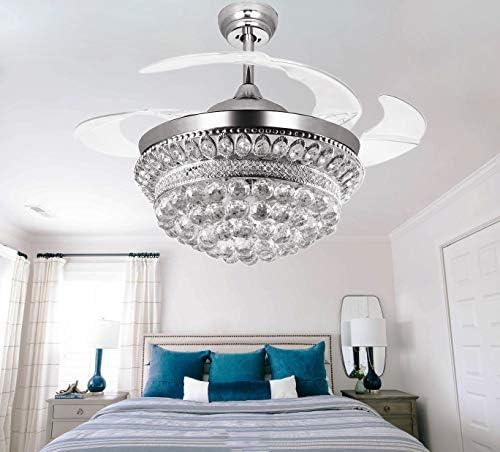 Crystal Chandelier Fandelier Chrome Ceiling Fan 42 Inch