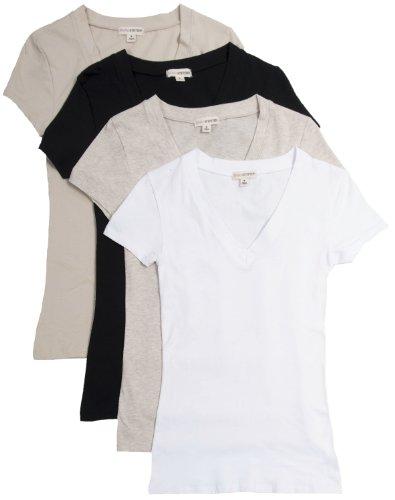 4 Pack Zenana Women's Basic V-Neck T-Shirts Med Black, White, Taupe, H. Beige