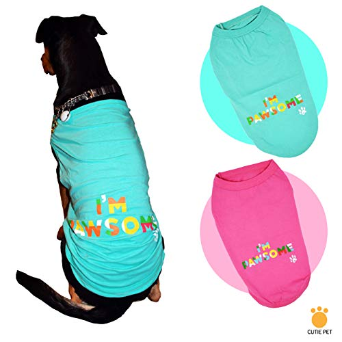 Cutie Pet Dog Cat Clothes Shirts I\'m Pawsome 100% Cotton Comfortable and Breathable for Small Medium Large Pets