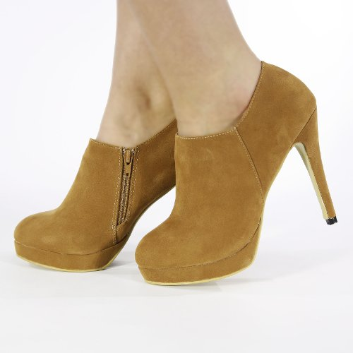 NEW LADIES PLATFORM HIGH HEEL ANKLE SUEDE SHOE BOOTS SHOES SIZE 3-8 SHOE-BOOT HI HEELS Brown j6NAz5Dmv0