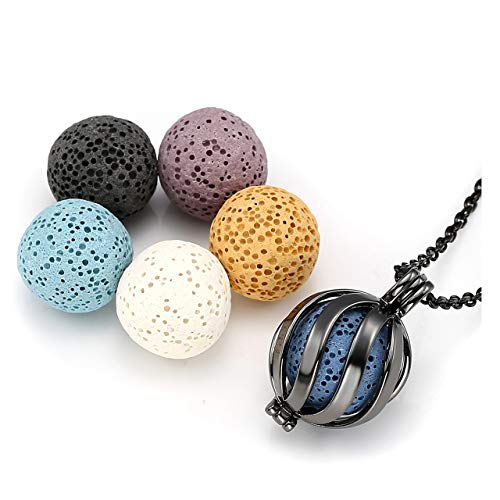 JOVIVI Essential Oil Necklace Aromatherapy Diffuser Locket Pendant Twisted Ball with 6 Lava Rock Stone Beads ()