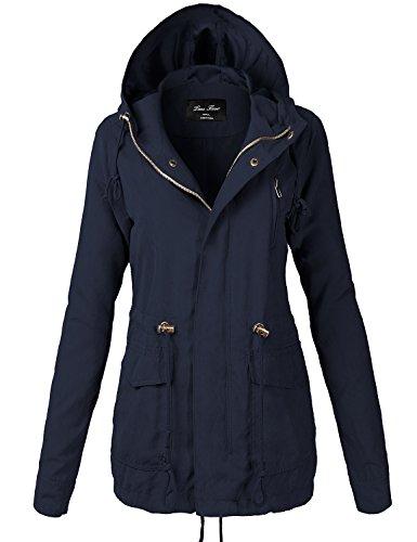 Peach Skin Waist Drawstring Hooded Zipper Utility Jackets 118-Navy Small - Fleece Mesh Parka