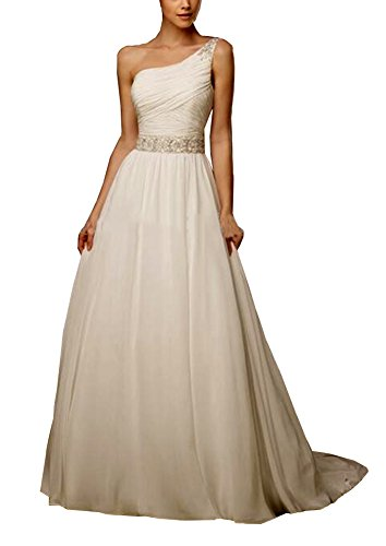 Beaded Ruched Bodice (YinWen Women's A Line Ruched Bodice One-Shoulder Beaded Empire Wedding Dress Size 14 US White)