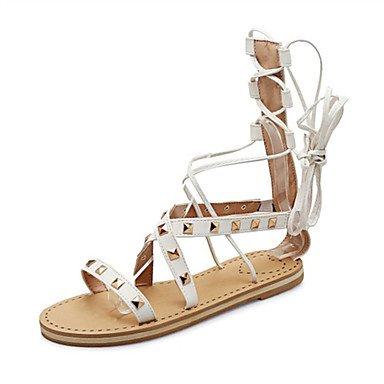 LvYuan Tacón Plano-Confort Innovador Zapatos del club-Sandalias-Oficina y Trabajo Vestido Informal-Semicuero-Negro Marrón Blanco White