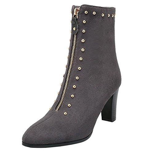 YE Absatz 8cm Reißverschluss Damen Grau Nieten Blockabsatz Geschlossene Modern und Stiefeletten Schuhe Boots mit Ankle rSTqgCwrx