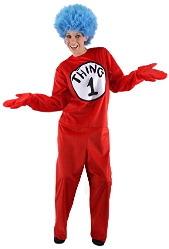 Women's Thing 1 Costume (elope Deluxe Thing 1/2 Costume, Red, Small/Medium)