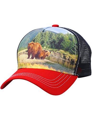 - Bear Trucker Hat Adjustable Mesh Animal Printed (ap04_Red)