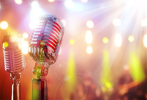 CSFOTO 5x3ft Background for Retro Microphone Abstract Bokeh Halos Photography Backdrop Music Concert Performance Karaoke Entertainment Metallic Audio Speak Photo Studio Props Vinyl Wallpaper]()