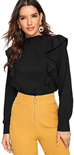 SheIn Women's Long Sleeve Button Ruffle Trim Work Shirt Chiffon Blouse Top