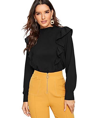 SheIn Women's Long Sleeve Button Down Lotus Ruffled Work Shirt Chiffon Blouse Top Small Black (Zara Clothes For Women)