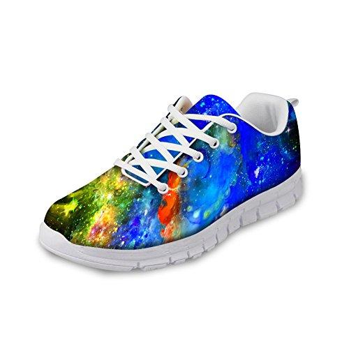 För U Designar Mode Galaxy Utskrifts Man & Kvinna Andas Lätt Snörning Gymnastikskor Löparskor Galax-6