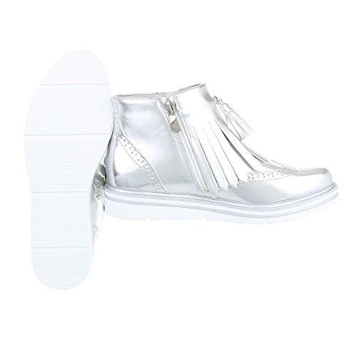 Ital-Design - Botas plisadas Mujer plata